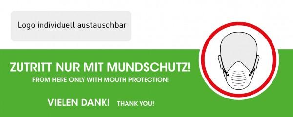 """Fensteraufkleber """"Mundschutz-Pflicht"""" mit Logo SK-Folie (500 x 200 mm)"""