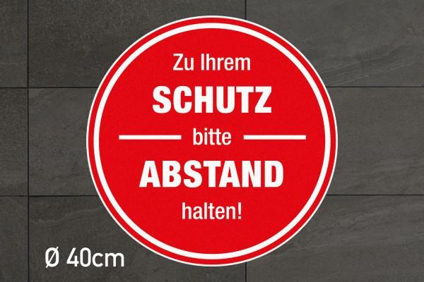 """Fussbodenaufkleber """"Schutz-Abstand"""" rund in Rot"""