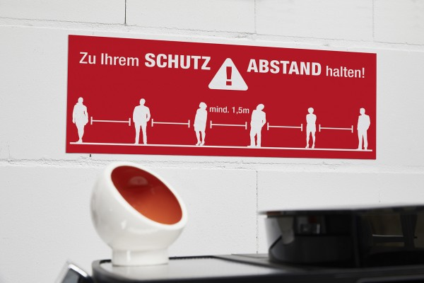 """Wandaufkleber """"Schutz- Abstand"""" (600 x 240 mm)"""