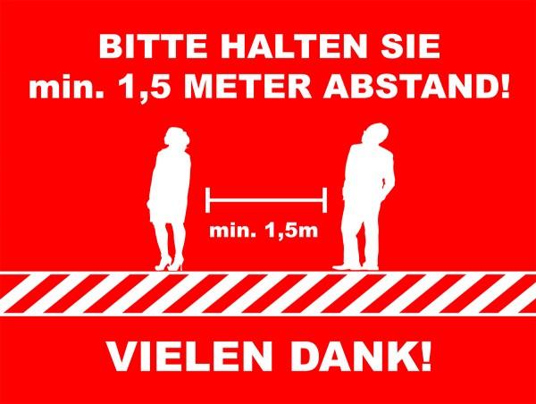 """Fussbodenaufkleber """"min. 1,5 Meter Abstand"""" eckig (400 x 300 mm)"""