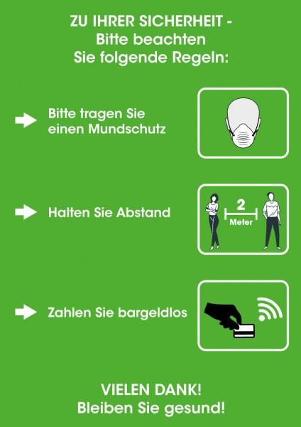 Hygiene-Regeln DIN A3 (297x420mm) grün