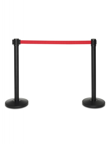 Abgrenzungsständer schwarz mit 2m rotem Gurtband Absperrung