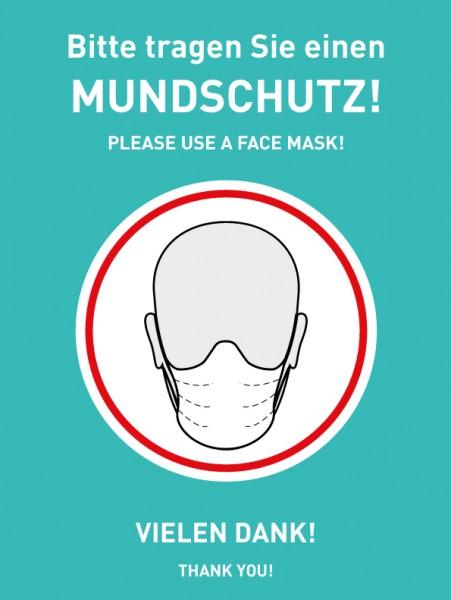 """Aufkleber/ Plakat """"Mundschutzpflicht"""" in türkis DIN A4"""