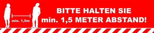 """Fussbodenaufkleber """"min. 1,5 Meter Abstand"""" eckig (700 x150 mm)"""