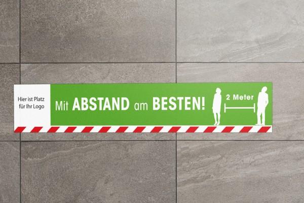 """Fussbodenaufkleber """"Mit Abstand am Besten"""" eckig mit Logo (900x150mm)"""