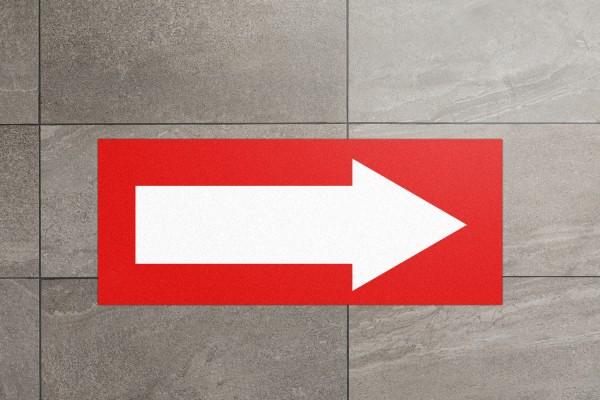 Fussbodenaufkleber mit Pfeil rechteckig rot/weiss (700x285mm)