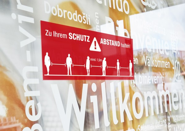 """Fensteraufkleber rot """"Schutz- Abstand"""" SK-Folie (600 x 240 mm)"""