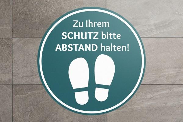 """Fussbodenaufkleber """"Schutz-Abstand mit Fuß-Icon"""" rund anpassbar"""