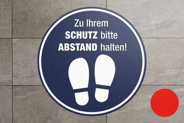 """Fussbodenaufkleber """"Schutz-Abstand mit Fuß-Icon"""" rund"""