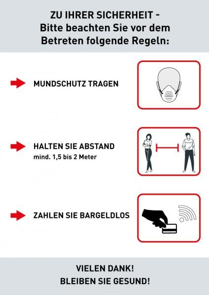 Hygiene-Regeln DIN A3 (297x420mm) grau/ weiss